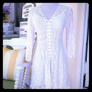 White crochet lace granny bohemian laces dress